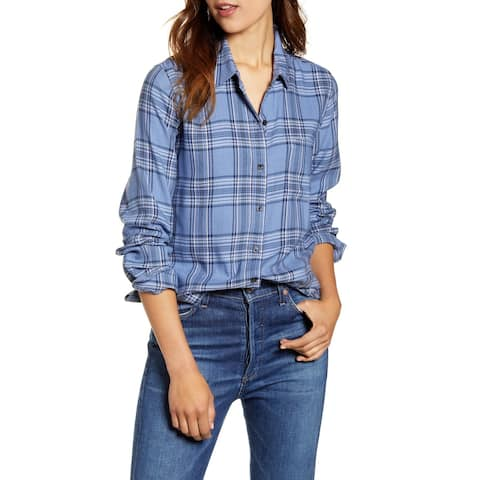 LUCKY BRAND Blue Long Sleeve Button Up Top XS/TP - XS\TP