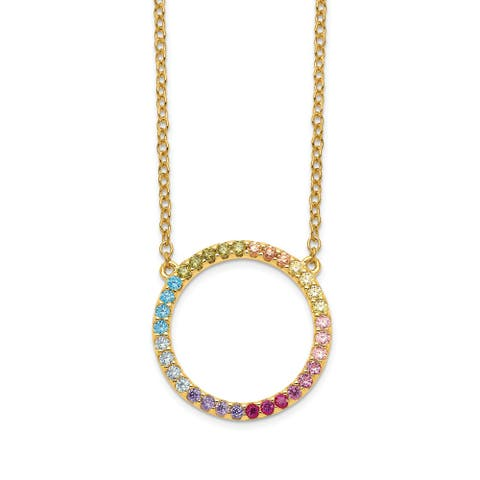 Sterling Silver 14K Flash-plated Colorful Cubic Zirconia Open Circle with 2-inch Extension Pendant Necklace by Versil