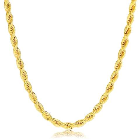 Pori 10K Gold 4mm Diamond-Cut Rope Chain Necklace