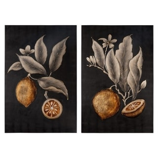 Set of 2 Citrus Study Hand Painted Stretched Canvas Wall Art 48""