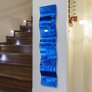 """Statements2000 3D Metal Wall Art Accent Sculpture Modern Abstract Blue Decor by Jon Allen - Azul Wave - 46"""" x 10"""""""