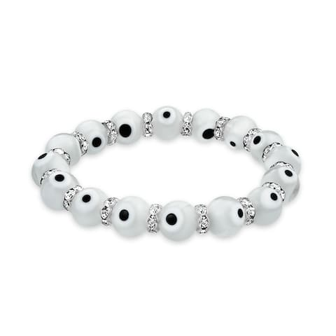 Turkish White Evil Eye Glass Bead Stretch Bracelet For Women Rondelle Crystal Spacers for Protection and Good Luck