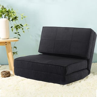 costway fold down chair flip out lounger convertible sleeper bed couch game dorm guest  black futons for less   overstock    rh   overstock