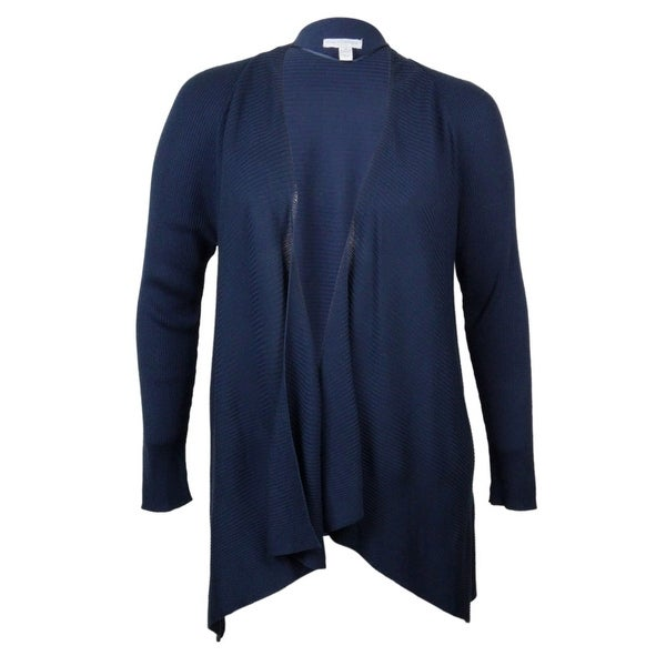 Charter Club Women's Draped Rib Knit Cardigan Sweater - Deep Black