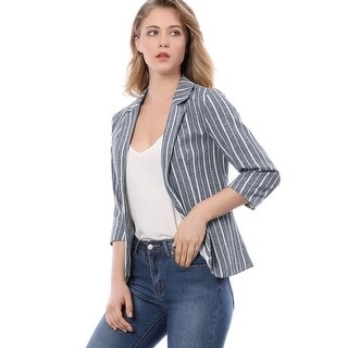 Allegra K Women Striped 3/4 Sleeves Open Front Notched Lapel Blazer