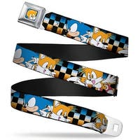 Sonic Classic Tails Face Close Up Full Color Blue Sonic & Tails Poses Seatbelt Belt