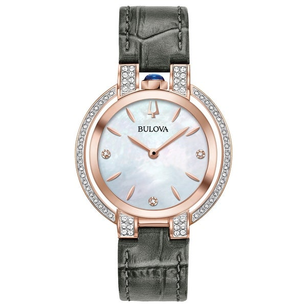 Bulova Women's 98R268 Rubaiyat Rosetone Stainless Diamond Accent Grey Leather Strap Watch. Opens flyout.