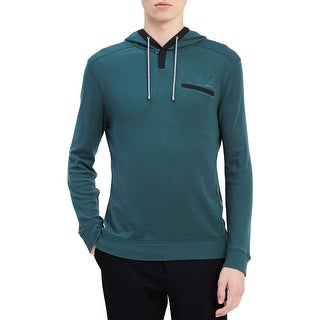 Calvin Klein Green Mens Size Large L Henley Hooded Sweat-Shirt