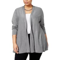 NY Collection Womens Plus Cardigan Top Knit Open Front