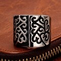 Vienna Jewelry Two Toned Abstract Emblem Stainless Steel Ring - Thumbnail 2