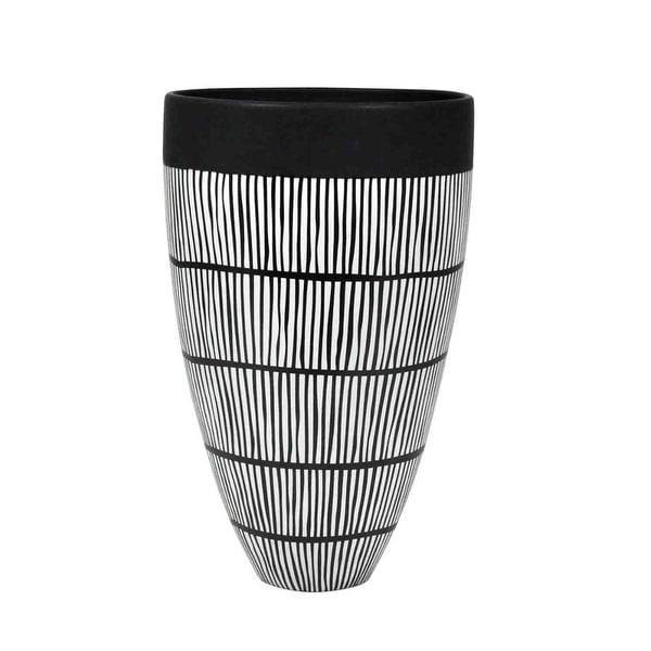 Shop Ceramic Tribal Cone Shaped Vase Black White Free Shipping