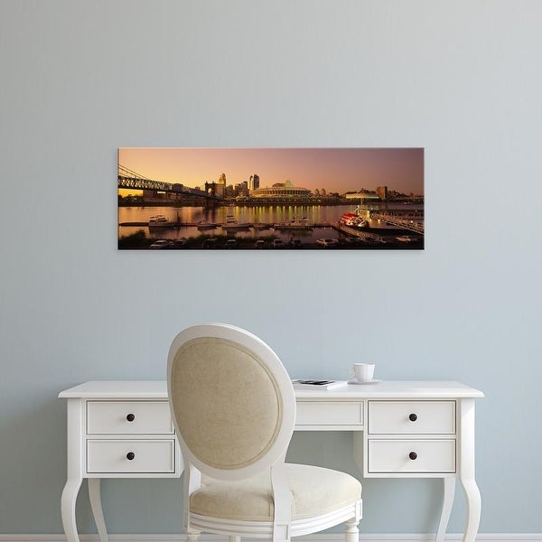 Easy Art Prints Panoramic Images's 'Buildings in a city lit up at dusk, Cincinnati, Ohio, USA' Premium Canvas Art