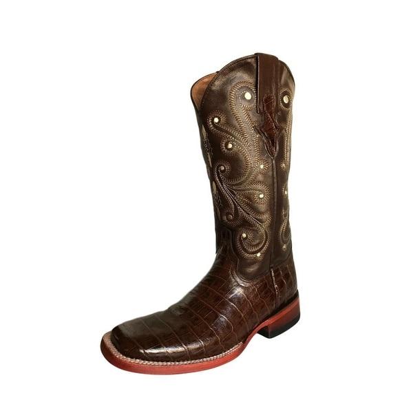 Ferrini Western Boots Womens Gator Exotic Cowboy Chocolate
