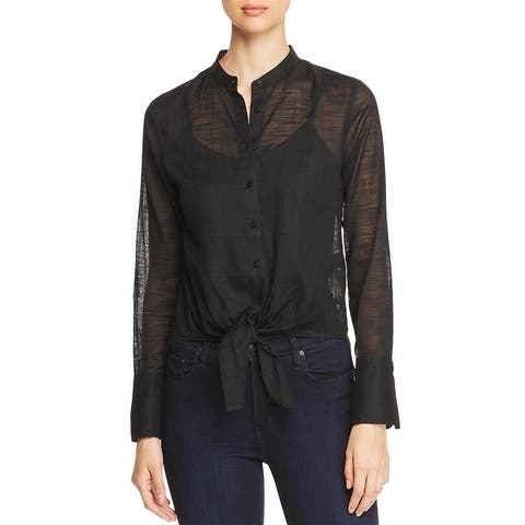 Kenneth Cole New York Womens Button-Down Top Gauze Sheer