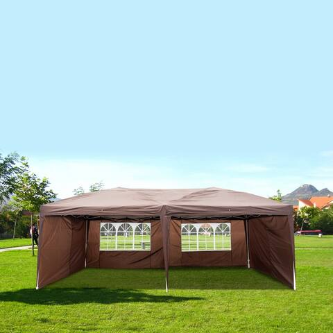 Outdoor Canopy Two Windows Waterproof Folding Tent Folding Tent Coffee