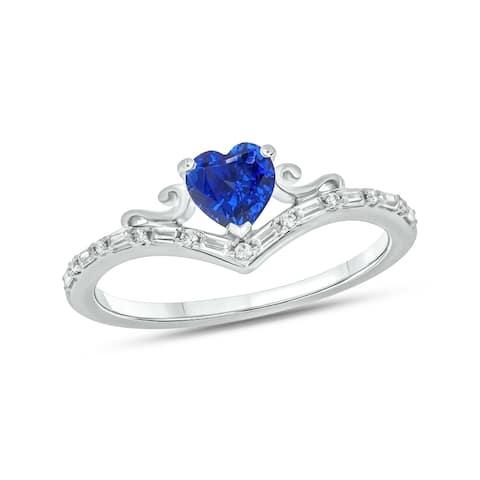 Cali Trove 1/10ct Baguette Round White Diamond Synthetic Heart Blue Sapphire Sterling Silver Fashion Chevron V Anniversary Ring