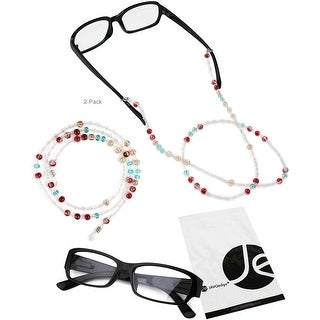 JAVOedge 2 Pack of Red and Blue Decorative Beaded Eyeglasses/ Glasses Lanyard - red, blue