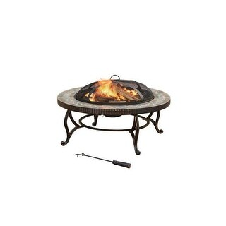 Pleasant Hearth OFW103RI 34 Inch Elizabeth Slate Fire Pit - bronze