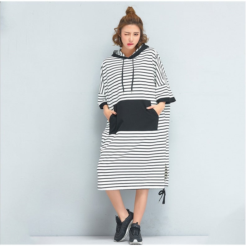 Black & White Stripe Oversized Hoodie Sweatshirt Jumper Dress Plus Size one  size fit for all - 16