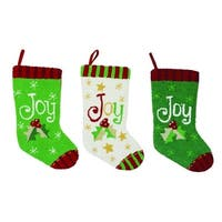 "Set of 3 Green and White Plush Textured ""Joy"" Christmas Stockings 17"""