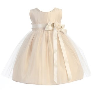 Sweet Kids Baby Girls Champagne Floral Accent Flower Girl Dress 6-24M