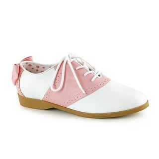 Womens Pink & White Bow Saddle Costume Shoes