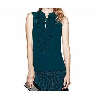 Tory Burch NEW Teal Green Womens Size 12 Ruffle-Trim Silk Blouse