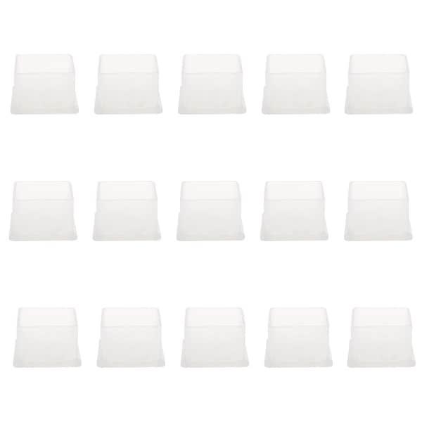 "Clear PVC Chair Leg Caps End Tip Feet Cover Furniture Glide Floor Protector 15pcs 1.5"" x 1.5"" (38x38mm) Inner Size"