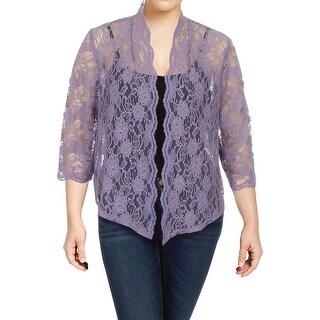 R&M Richards Womens Plus Jacket Lace Metallic - 20W