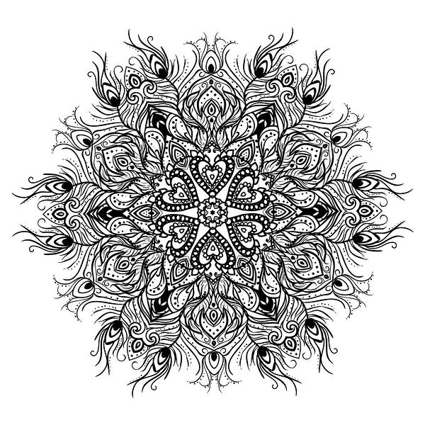 Peacock Feather Mandala - Coloring Canvas - Meditation - 20x20 Canvas B&W