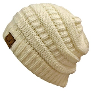 Trendy Warm CC Chunky Soft Stretch Cable Knit Soft Beanie, Ivory