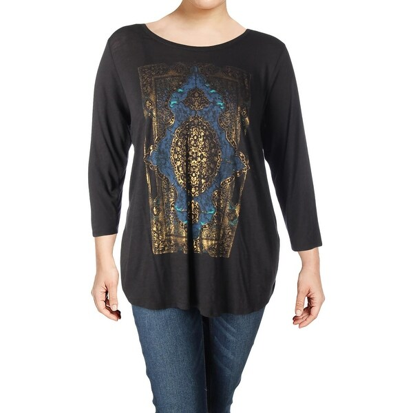 bfbbca9f7d705 Shop Lucky Brand Womens Plus Graphic T-Shirt Metallic Print Three-Quarter  Sleeves - Free Shipping On Orders Over $45 - Overstock - 23092204