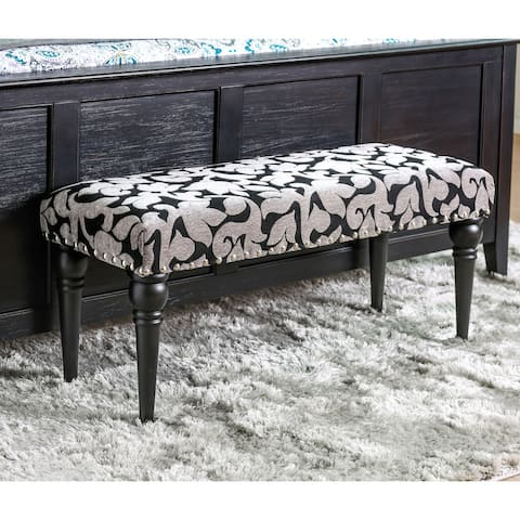 Furniture of America Savy Contemporary Grey Chenille Accent Bench