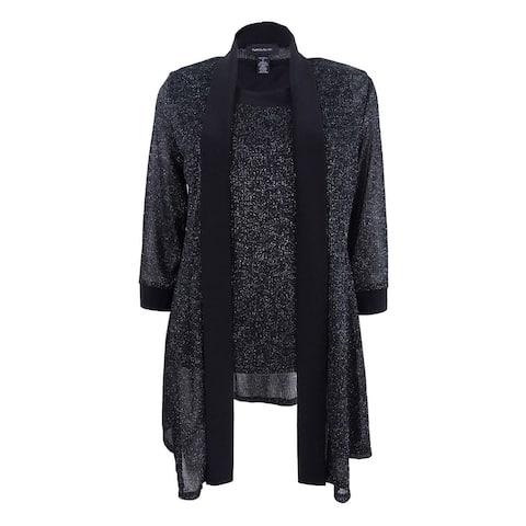 R&M Richards Women's Glitter-Trim Layered Jacket Set - Black