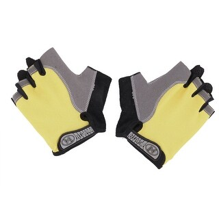 Outdoor Skating Cycling Sport Breathable Half Finger Gloves Yellow L Size Pair