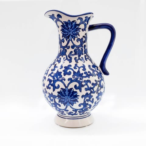 "Claybarn Blue Garden 13"" Peony Vase"