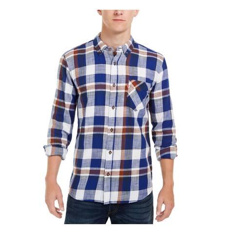 LEVI'S Mens Blue Plaid Collared Dress Shirt Fit Dress Shirt XL