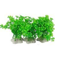 Unique Bargains Aquarium White Ceramic Base Green Plastic Grass 3 Pcs