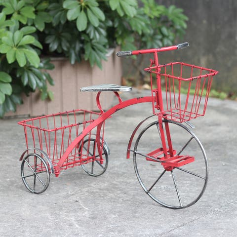 """Small Iron Tricycle Planter in Red - 24"""" L x 11.4"""" W x 17.7"""" H"""