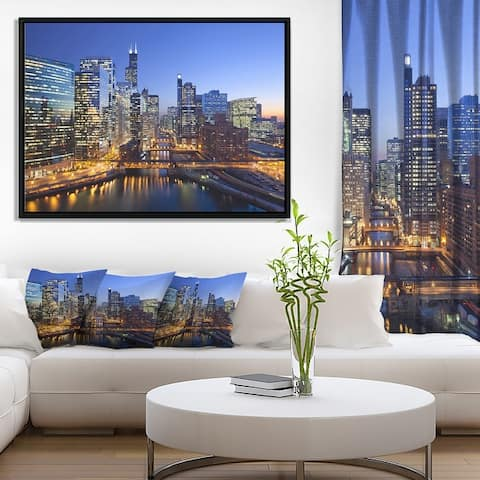 Designart 'Chicago River with Bridges at Sunset' Cityscape Framed Canvas Print