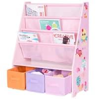Costway Kids Sling Bookshelf Bookcase and Toys Organizer Shelves W/3 Free Storage Boxes - Pink