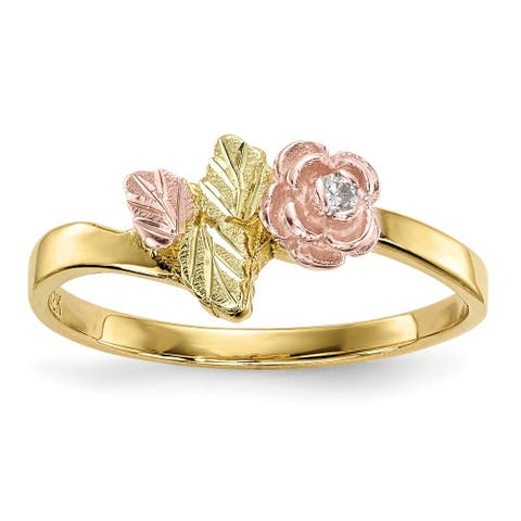 10K Yellow Gold with 12K Rose and Green Accent High Polished Black Hills Diamond Ring