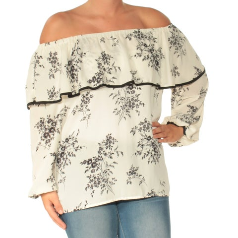 VINCE CAMUTO Womens Ivory Floral Long Sleeve Off Shoulder Top Size: S