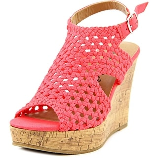 Famous Name Brand Festival Open Toe Canvas Wedge Heel