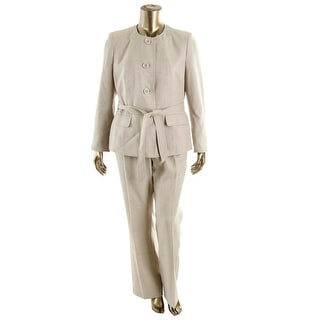 Le Suit Womens City Blooms Heathered Collarless Pant Suit