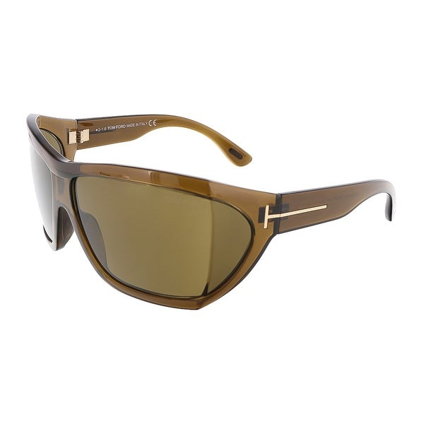 Tom Ford FT0402/S 48E SEDGEWICK Shiny Brown Oversized Wrap sunglasses - 62-13-115