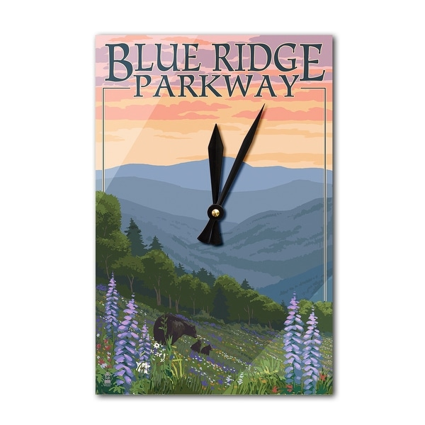 Blue Ridge Pkway VA Bears & Flowers LP Artwork (Acrylic Wall Clock) - acrylic wall clock