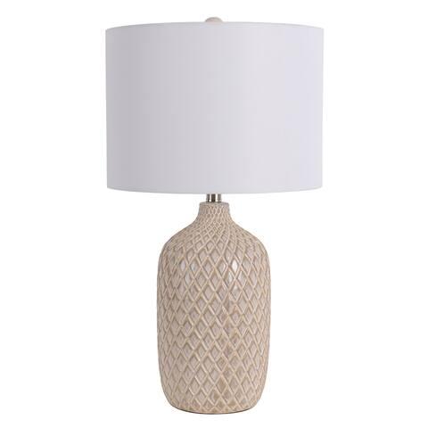 Damian Diamond Cut Ceramic Table Lamp with LED Bulb