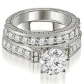 1.65 cttw. 14K White Gold Antique Round Cut Diamond Bridal Set - Thumbnail 0