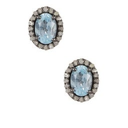 Natural Blue Topaz Diamond Stud Earring in Sterling Silver, Halo Stud Earrings,